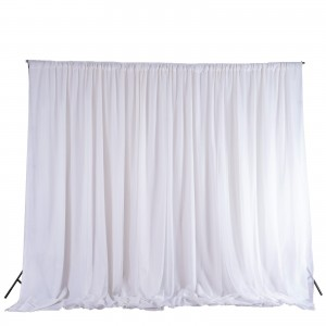 10FT x 10FT | White Double Layer Polyester Chiffon Backdrop With Rod Pockets 2