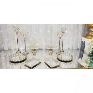 10 piece silver  crystal  tray and candle  Holders