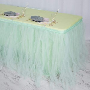 21FT Mint Green 4 Layer Tulle Tutu Pleated Table Skirts