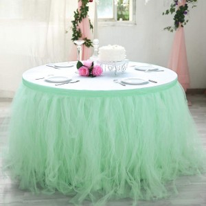21FT Mint Green 4 Layer Tulle Tutu Pleated Table Skirts 2